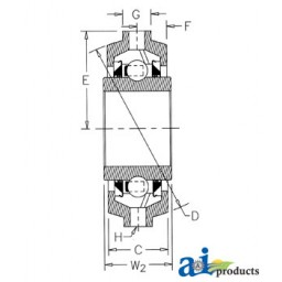 CDS211TTR23-I - Bearing, Rubber Mount Disc; Re-Lubricatable