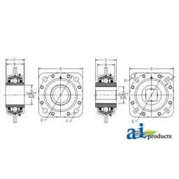 FD209RM-I - Bearing, Flanged Disc; Square Bore, Re-Lubricatable