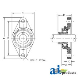 WGTZ12-I - 2 Bolt Flanged Bearing W/ Lock Collar, Re-Lubricatable