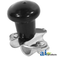 5A6BL - Spinner, Aluminum Steering Wheel Black Plastic Coated Knob