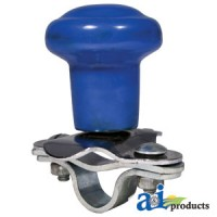5A6BU - Spinner, Aluminum Steering Wheel Blue Plastic Coated Knob
