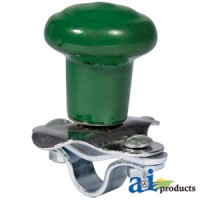 5A6G - Spinner, Aluminum Steering Wheel Green Plastic Coated Knob