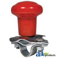 5A6R - Spinner, Aluminum Steering Wheel Red Plastic Coated Knob