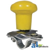 5A6YL - Spinner, Aluminum Steering Wheel Yellow Plastic Coated Knob