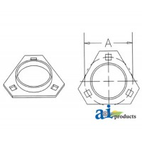 FTR340-I - Flange Half, Bearing; 3 Bolt Triangular
