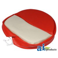 SP300-17 - Deluxe Tie-On Seat Pad for H&M Pans, RED/WHT